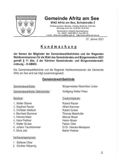 Gemeinderats- und Bügermeisterwahl 2021: Mitglieder der Wahlbehörde